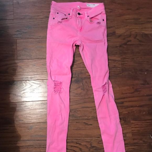 rag & bone Denim - Neon Pink Rag & Bone Distressed Skinny Jeans.